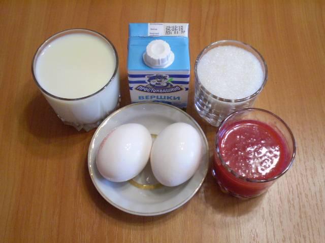 1. Приготовим продукты для мороженого.