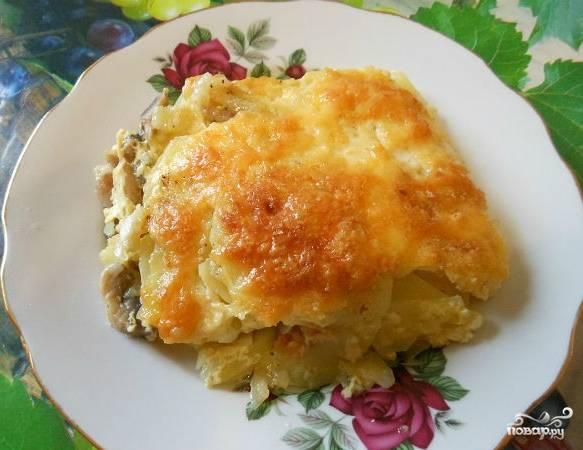 Запеченная картошка с шампиньонами и сыром