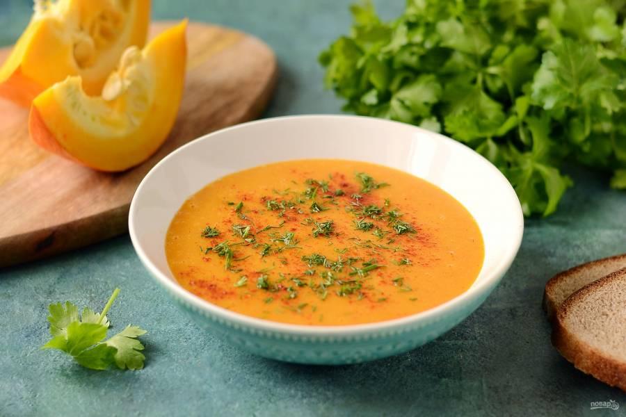Тыквенно-чечевичный суп-пюре