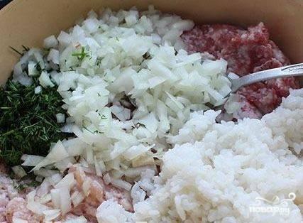 Если необходимо, то заранее разморозьте фарш. Сварите рис, смешайте его с фаршем. Туда же добавьте мелко нарезанный лук и укроп. Всё перемешайте.