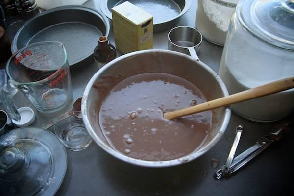 1. Духовку включаем и оставляем разогреваться. В глубокую мисочку насыпаем просеянную муку с какао, соль и разрыхлитель. Тщательно соединяем. Затем сделаем небольшое углубление в центре, вольём туда ванильный экстракт, растительное масло и холодную воду. Как следует перемешаем всё до однородности.