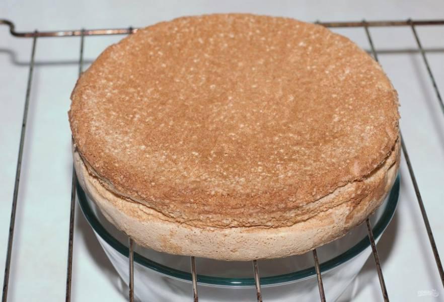 Готовый бисквит оставьте на 8-12 часов под полотенцем при комнатной температуре, чтобы он не размок при сборке. Текстура у него будет воздушной.