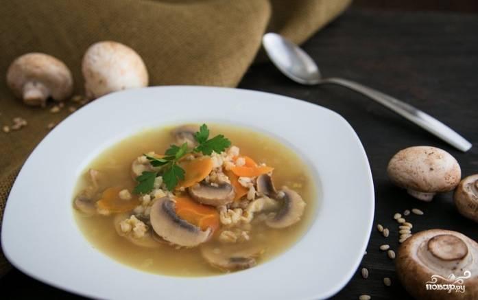 Грибной суп с ячменем