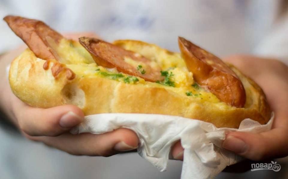 Булочки с колбасой а-ля бутерброд