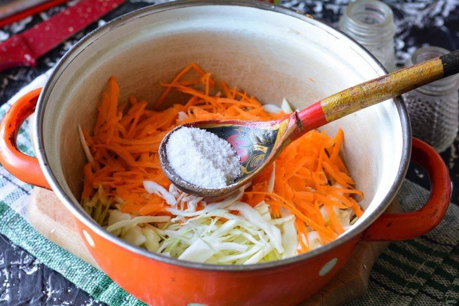 Смешайте капусту, морковку, соль и сахар.
