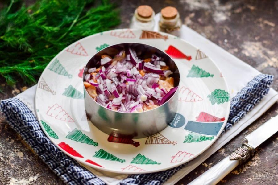 Прикройте слой курицы мелко нарезанным сладким красным луком.