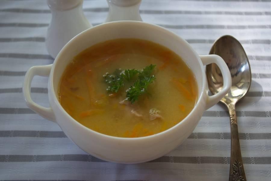 Разлейте суп по тарелочкам, подайте к столу с зеленью.