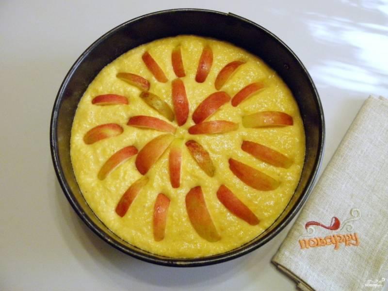 Форму для выпекания застелите пергаментом, смажьте любым кондитерским жиром или растительным маслом. Распределите тесто. Яблоки вымойте, удалите сердцевинки, порежьте дольками. Вставьте яблоки, вдавливая чуть в тесто.