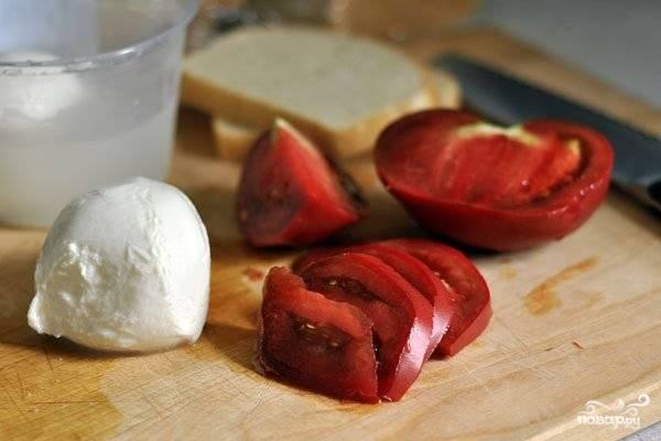 Помидоры вымойте и высушите. Нарежьте их тонкими дольками. Подготовьте кусочки белого хлеба. Моцареллу нарежьте кусочками толщиной около 2 сантиметров.