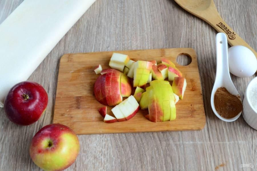 Яблоки порежьте на небольшие кубики. Если кожица мягкая, то ее можно не очищать.