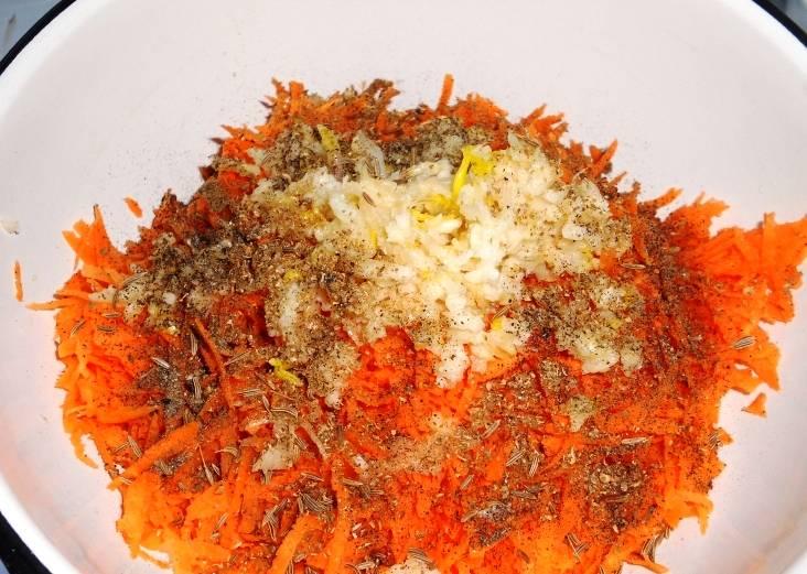 Потрите морковь, смешайте её с пропущенным через пресс чесноком, кориандром, солью и перцем.