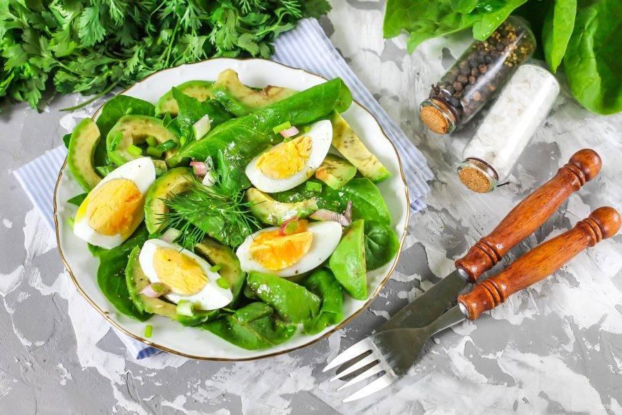 Промойте стебли зеленого лука, измельчите их и присыпьте блюдо сверху. Сбрызните оливковым маслом, посолите и поперчите. Украсьте свежей зеленью и сразу же подавайте к столу. Приятного аппетита!