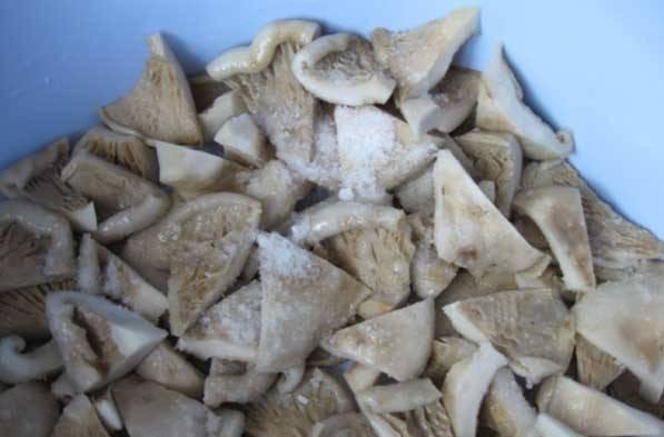 Промываем грузди и режем кусочками, складываем грибы в таз и пересыпаем с солью. Оставляем грибы под гнетом на 3 дня.