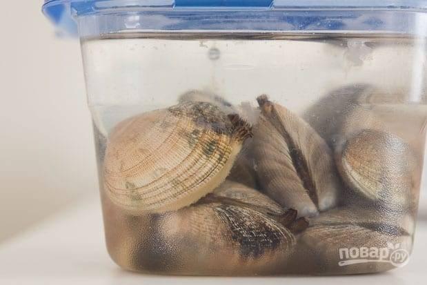1.Свежие мидии сразу после покупки положите в контейнер и залейте холодной водой, посолите хорошенько и оставьте на 1-2 дня, так мидии очистите от песка. Перед использованием еще раз промойте моллюсков.