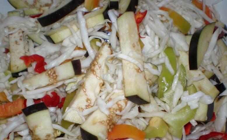 Все овощи промываем и очищаем от лишних семян и тд. Капусту нашинкуйте, перец и баклажаны порежьте небольшими ломтиками. Смешайте овощи вместе, посолив по вкусу.