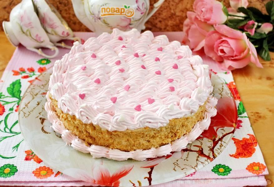 Сметанный торт с медовыми коржами