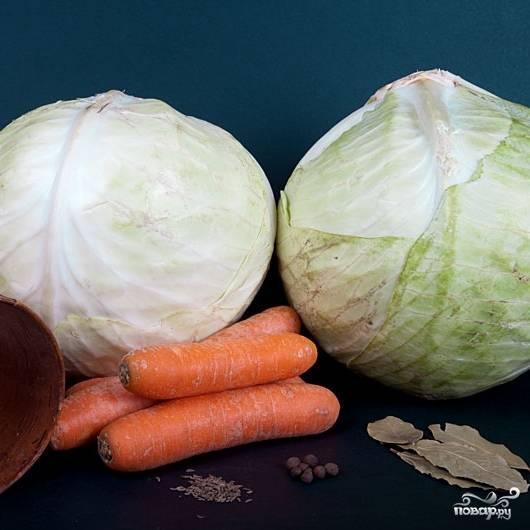 Набор ингредиентов довольно простой - капуста, морковь да специи.