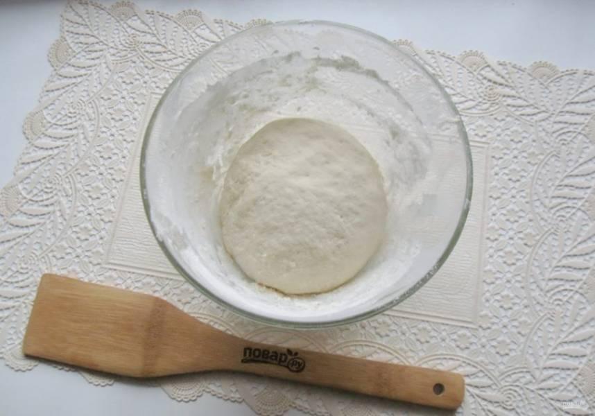 В миску насыпьте просеянную муку, добавьте сухие дрожжи, соль и сахар. Разбейте яйцо и влейте кефир комнатной температуры. Замесите мягкое, не липнущее к рукам тесто.