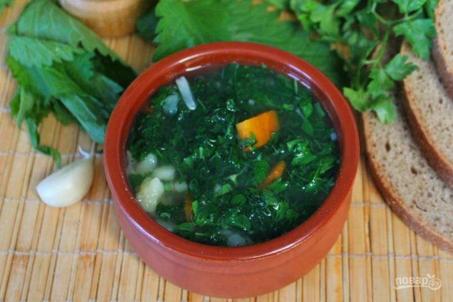 Постный суп из крапивы готов, остается добавить немного черного перца и петрушку. Приятного аппетита!