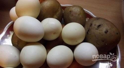 Отварите до готовности яйца, картофель и морковь.