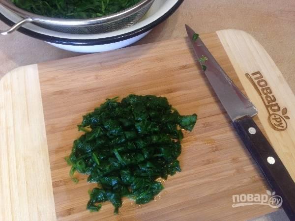 2. Остывший шпинат отжимаем и измельчаем.
