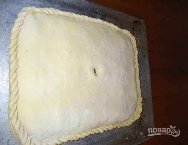7. Накройте сверху вторым пластом, залепите края и сделайте небольшой отверстие для выхода пара. Выпекайте пирог при температуре 180 градусов до румяности (около 45-55 минут).