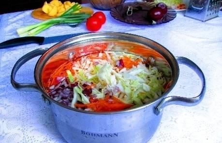 Выкладываем все овощи в кастрюлю, наливаем 2 литра воды. Ставим на огонь и варим минут 15 после закипания.