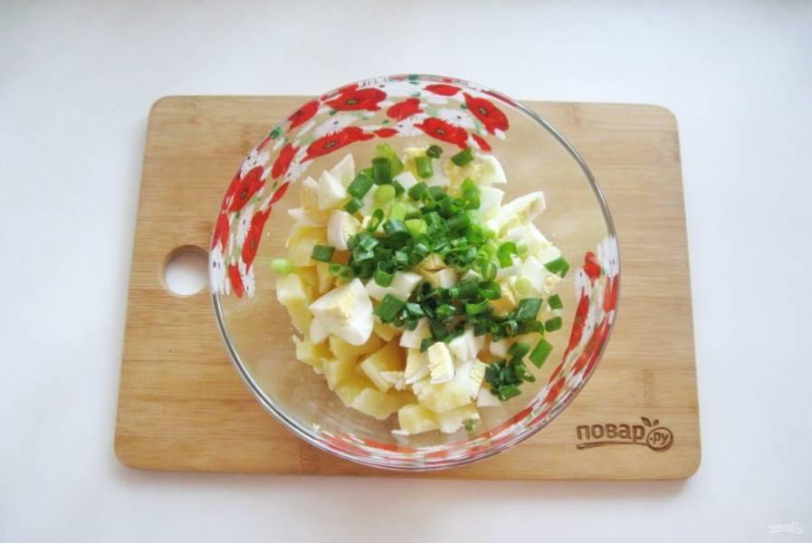 Зеленый лук помойте и мелко нарежьте, выложите в салат.