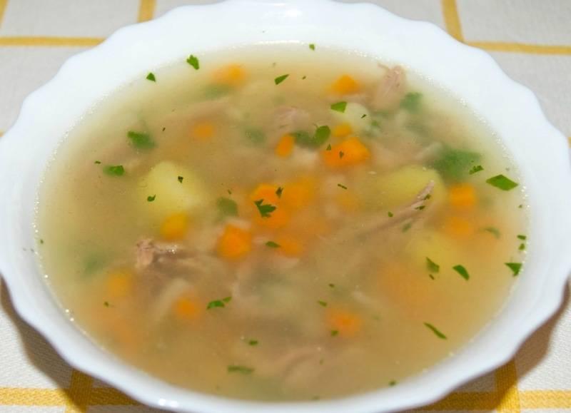 Подаем готовый суп к столу, посыпаем его свежей зеленью. Приятного всем аппетита!