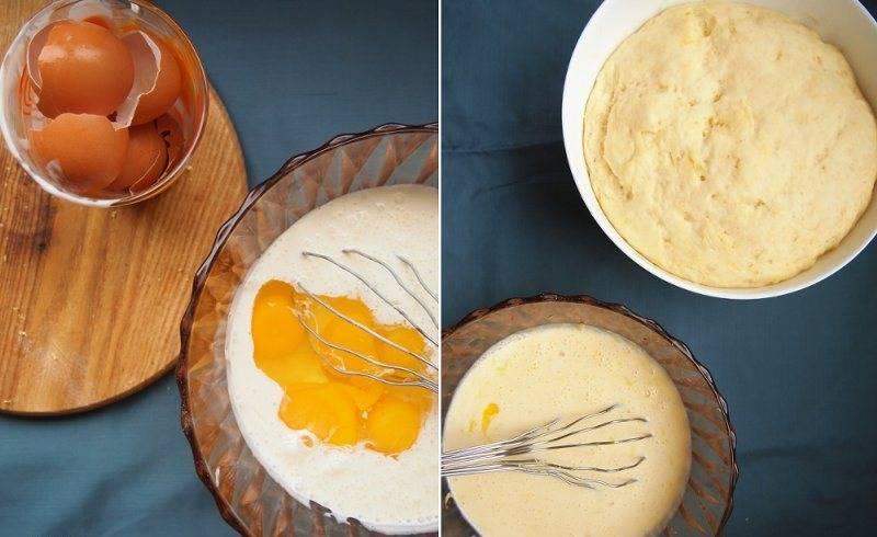 Сформируйте из теста шар и переложите его в смазанную оливковым маслом емкость, накройте пленкой и оставьте при комнатной температуре на 2 часа. После чего, поставьте тесто на ночь в холодильник. Тем временем смешайте яйца и 6 ст.л. сахара, добавьте сметану и все перемешайте.