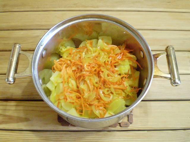 8. Заправляем картофель жареными овощами, поливаем жиром от жаренья и легонько встряхиваем картошечку, чтобы равномерно распределились овощи и масло. Картошка с морковью и луком готова, приятного аппетита!