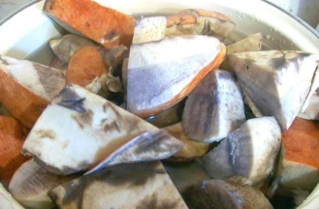 Наберите в кастрюлю воды, доведите ее до кипения и отварите грибы 15 минут, не забудьте посолить. Затем откиньте подосиновики на дуршлаг.