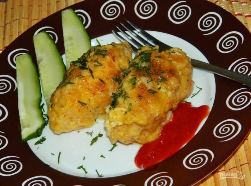 Куриные рулеты с сырной начинкой