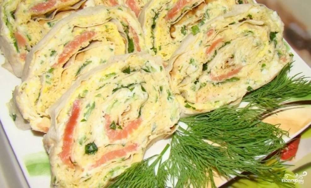 Лаваш с рыбой и плавленым сыром
