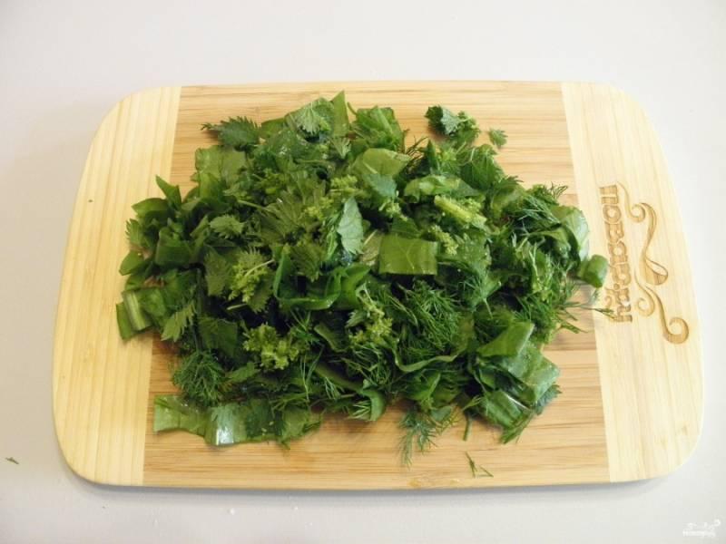 Всю зелень тщательно вымойте. Будьте осторожны  с крапивой, лучше надеть перчатки! Порежьте зелень толщиной в 1-1,5 сантиметра.