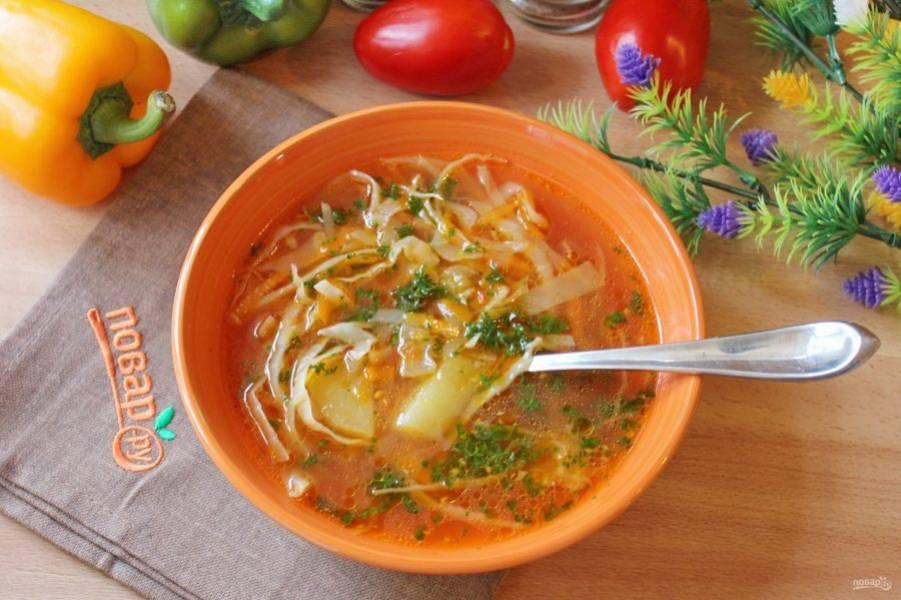 Щи без зажарки  из свежей капусты готовы. Подавайте на первое в обед со сметаной или без.