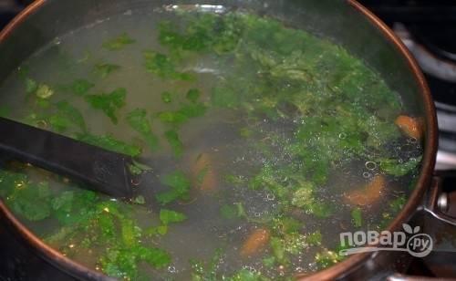 Бульон вновь поставьте на огонь. Добавьте в него зелень, разобранную на волокна, курицу и нарезанную морковь.