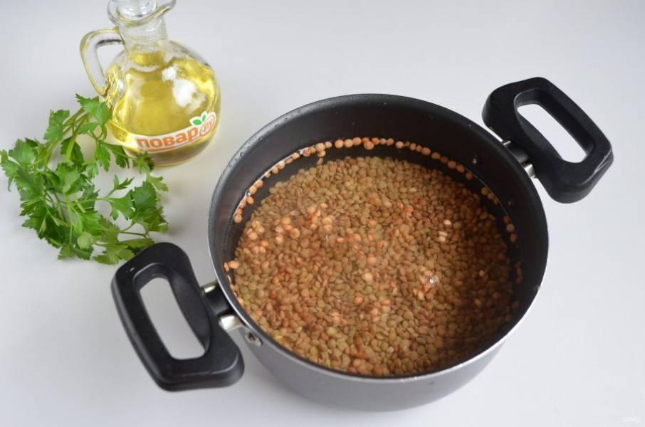 2. Чечевицу переберите, промойте. Залейте двумя стаканами воды, добавьте щепотку соли. Доведите до кипения и варите 20 минут, чечевица должна полностью быть сваренной, но не развариться. Следите. Перемешивать ее не нужно.