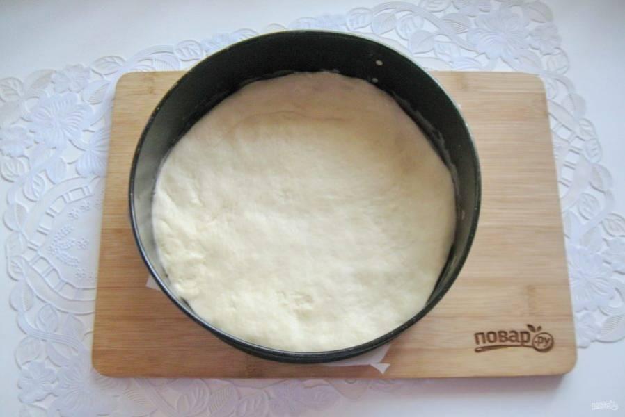 Выложите тесто в круглую форму.