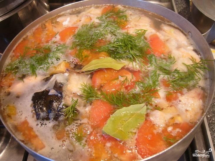 5.Процеживаем бульон, возвращаем его на огонь, кладем картошку, через 10 минут солим и перчим, кладем мелко нарубленный лук и добавляем помидор, укроп. Варим все около 5 минут, затем добавляем очищенные от костей кусочки семги, выключаем огонь и настаиваем 15 минут.
