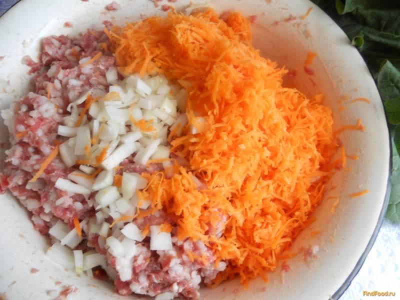 3. Добавляем в начинку мелко нарезанный лук и морковь, а также специи и соль. Перемешиваем все до однородной консистенции.