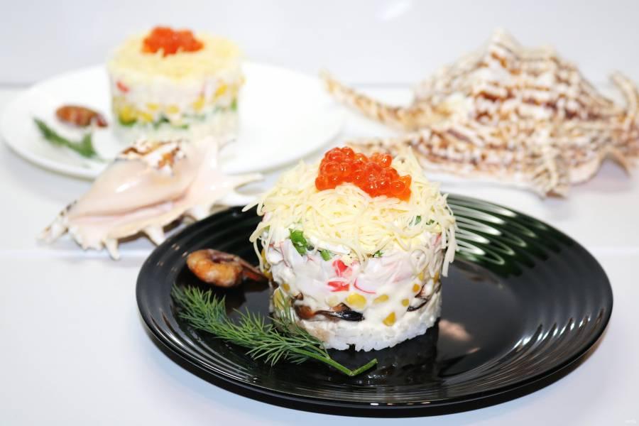 Новый салат с крабовыми палочками