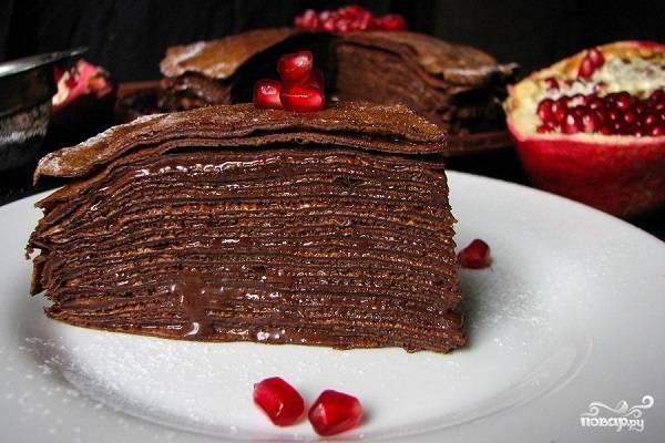 Блинный торт шоколадный