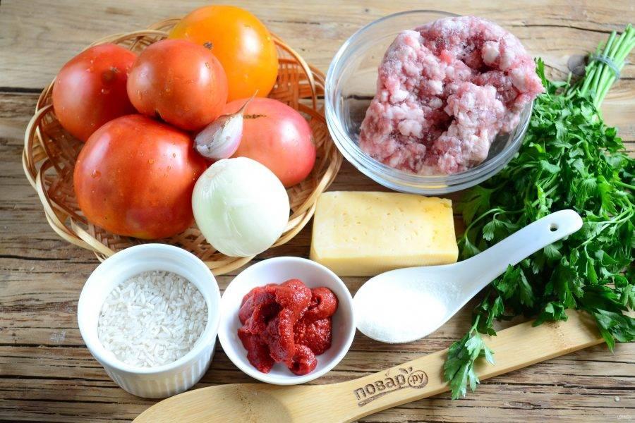 Подготовьте все необходимые ингредиенты. В этот раз фарш я использовала покупной свино-говяжий.