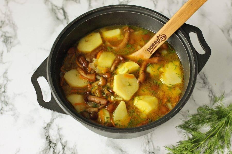 Дайте готовому блюду настояться под крышкой 10-15 минут и можно подавать тушеную картошку с опятами к столу.