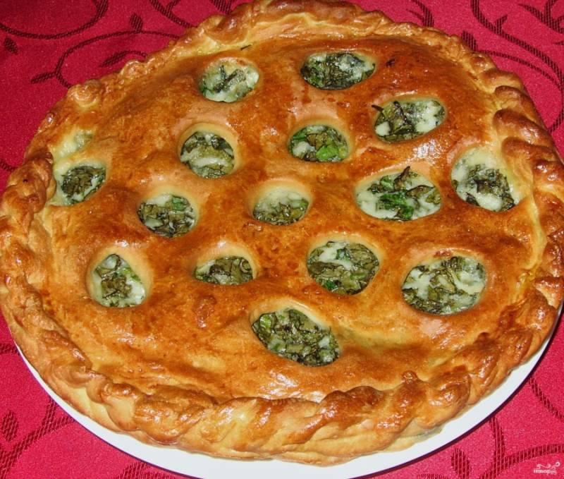 Отправьте пирог в разогретую духовку до 180 С выпекаться, пока он не подрумянится. Примерно, минут 35-40, может меньше или больше, проверяйте готовность по ходу.