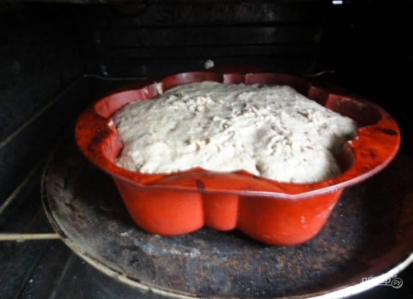 Затем тесто хорошо обомните руками. Включите духовку на 180 градусов. Тесто переложите в форму для выпечки. Оставьте его на несколько минут, чтобы оно поднялось.
