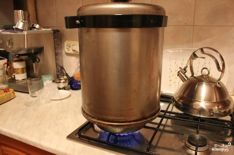 На дно коптильни выложите щепки. Лучше всего использовать ольховые или же щепки фруктовых деревьев. Тогда рыба получается ароматнее. Обязательно установите воронку, куда будет стекать жир. Закройте коптильню и поставьте её на большой огонь на 20 минут. Затем выключите огонь и оставьте коптильню до полного остывания, не открывайте её.