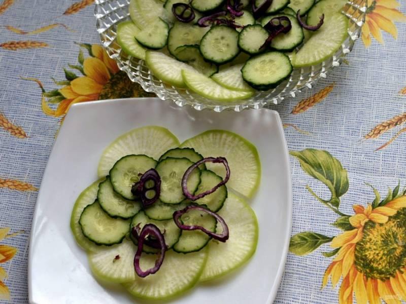 Овощи очистите,  промойте, обсушите. Очень тонко  нарежьте кружочками редьку и огурец. Разложите по тарелкам слоями, перекладывая тонкими колечками красного лука и слега поливая заправкой.