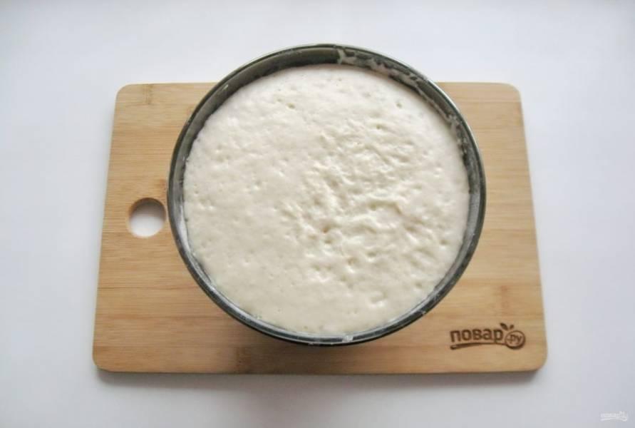 Поставьте тесто в теплое место до увеличения в объеме. Примерно через 40-60 минут оно подойдет.